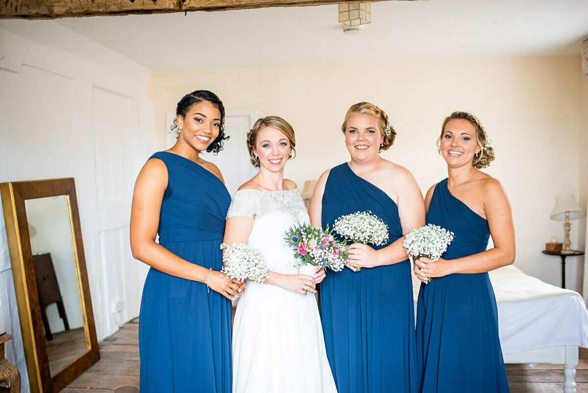 Bride and bridesmaids at lyde court wedding