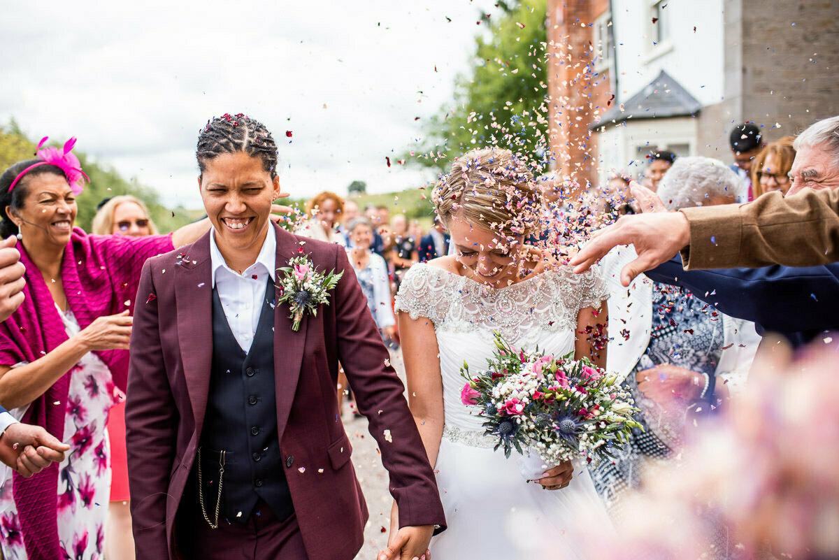 wedding confetti walk