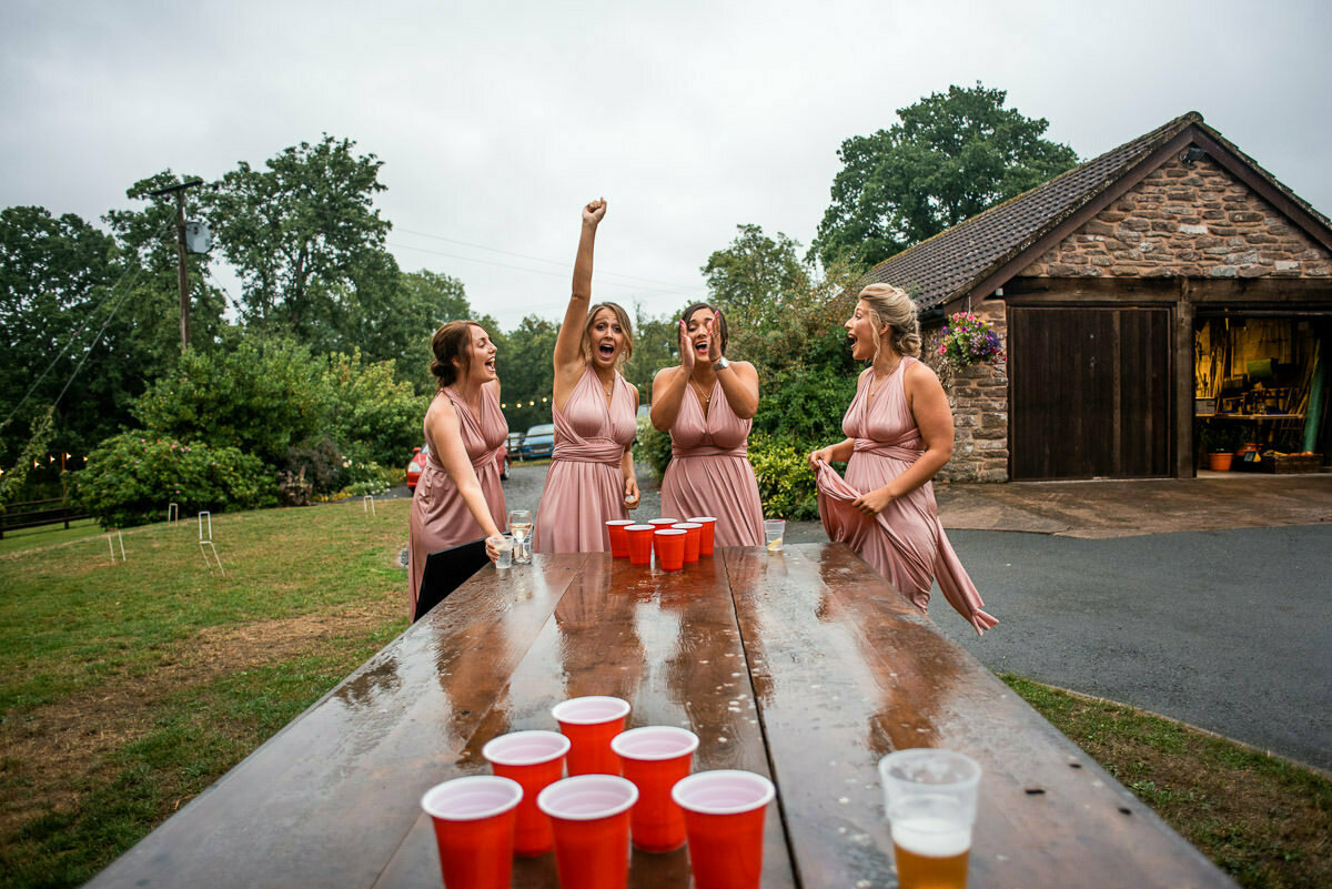 beer pong and bridesmaids