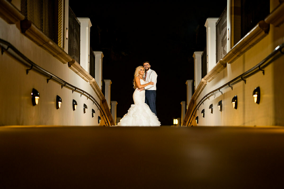 Night portraits at Huntington Beach weddings