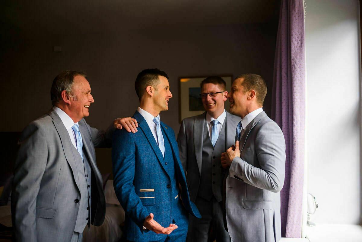 Groomsmen in gothic quarter at Brinsop court wedding