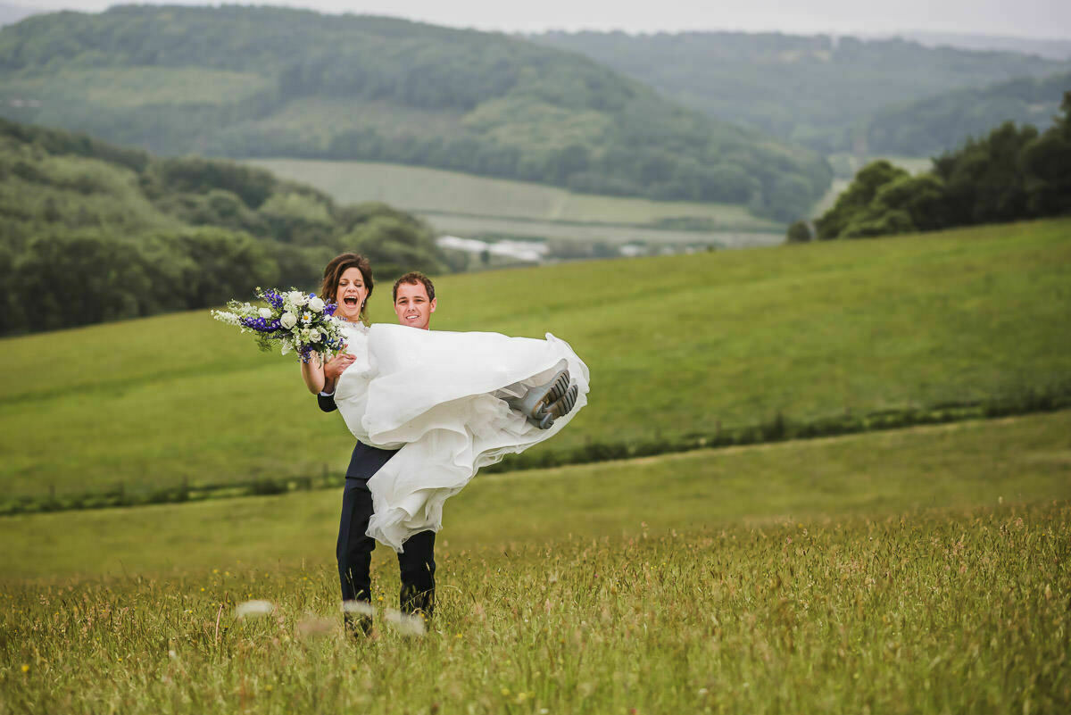 Bride and Groom on a farm