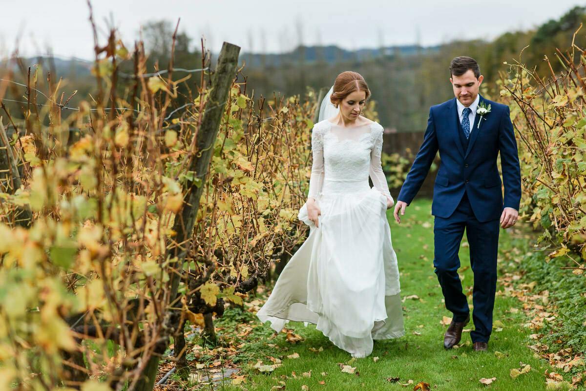 Relaxed wedding photography at Llanerch vineyard