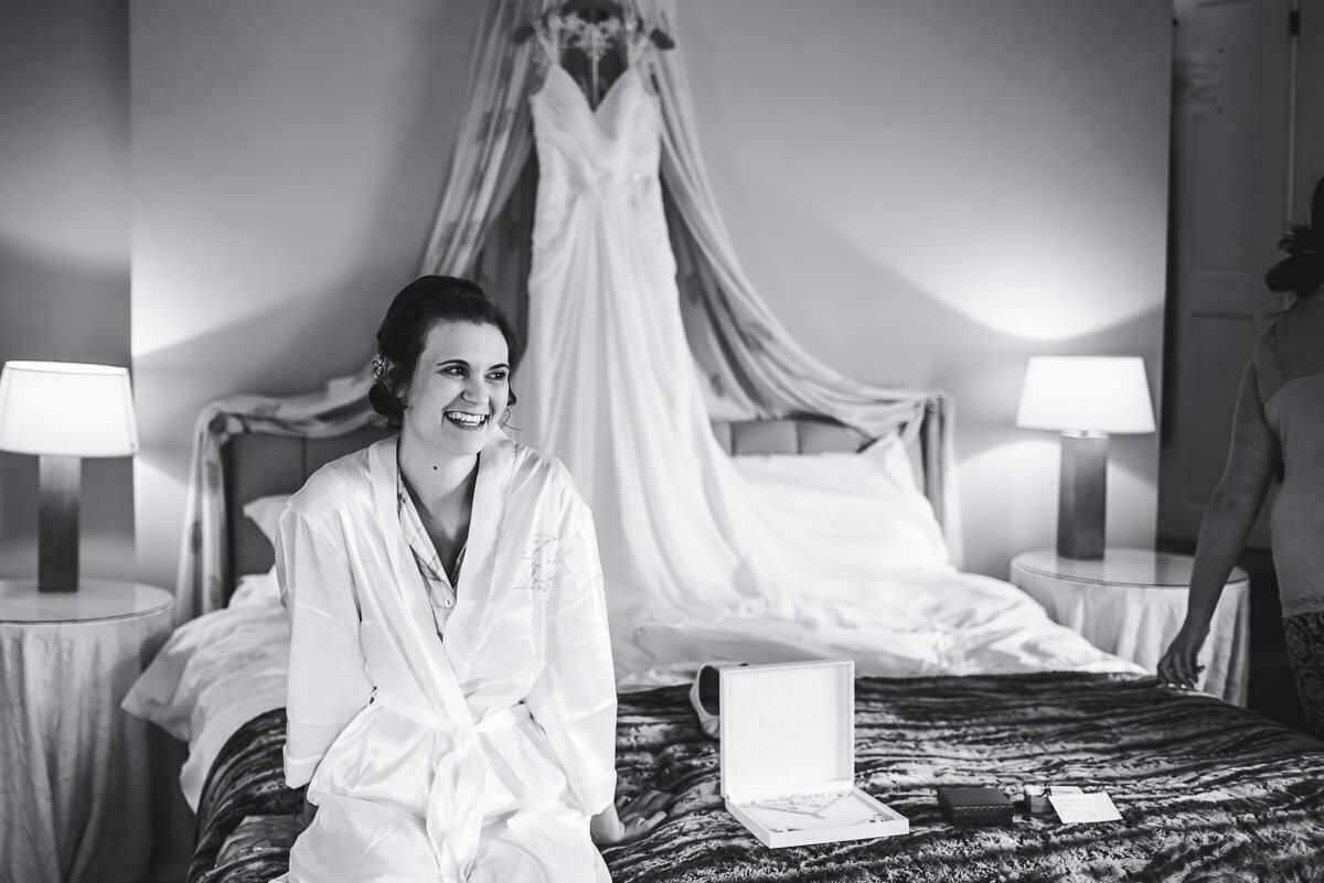 Bride and Dress at Delbury Hall Shropshire