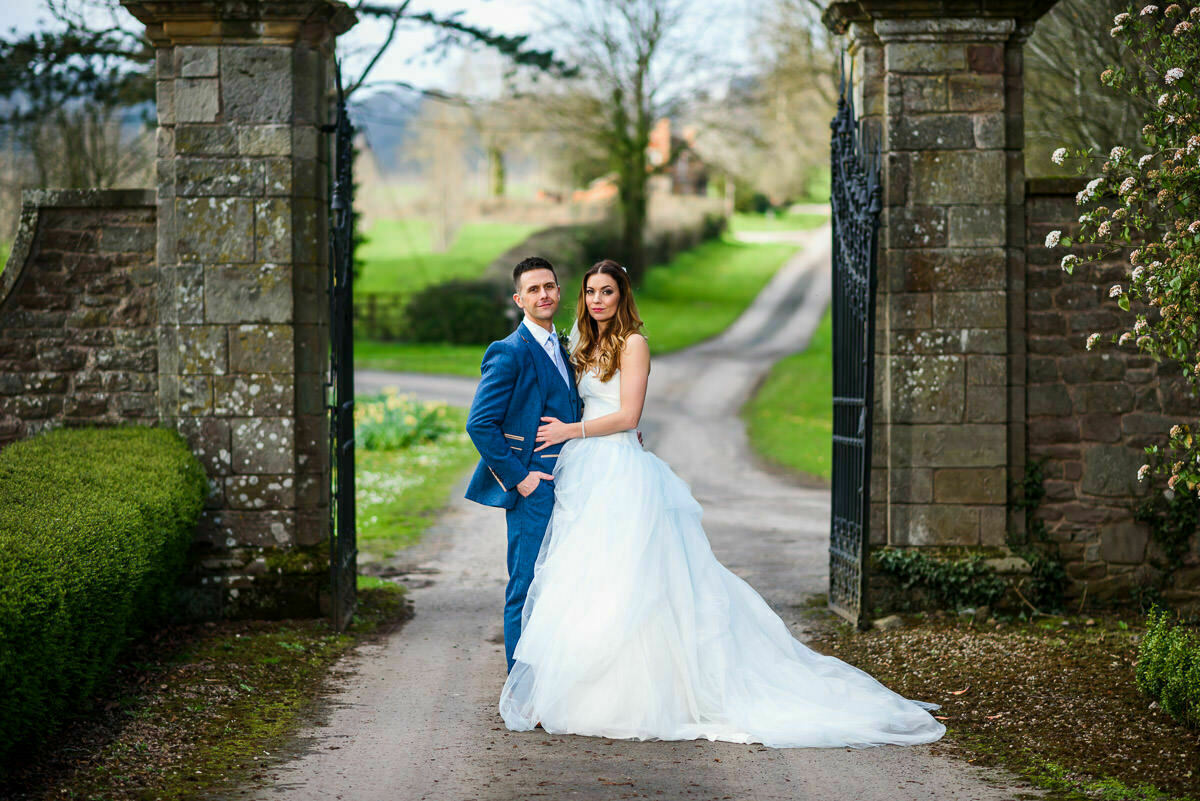 Bride and Groom at Brinsop court wedding