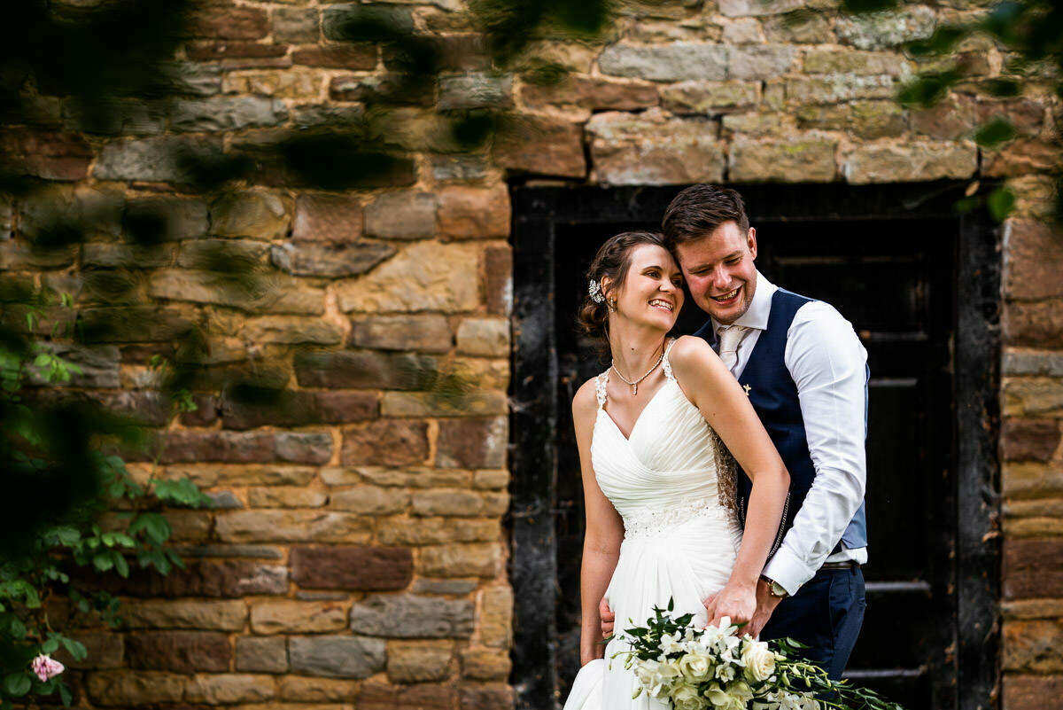 Happy couple at Delbury Hall wedding