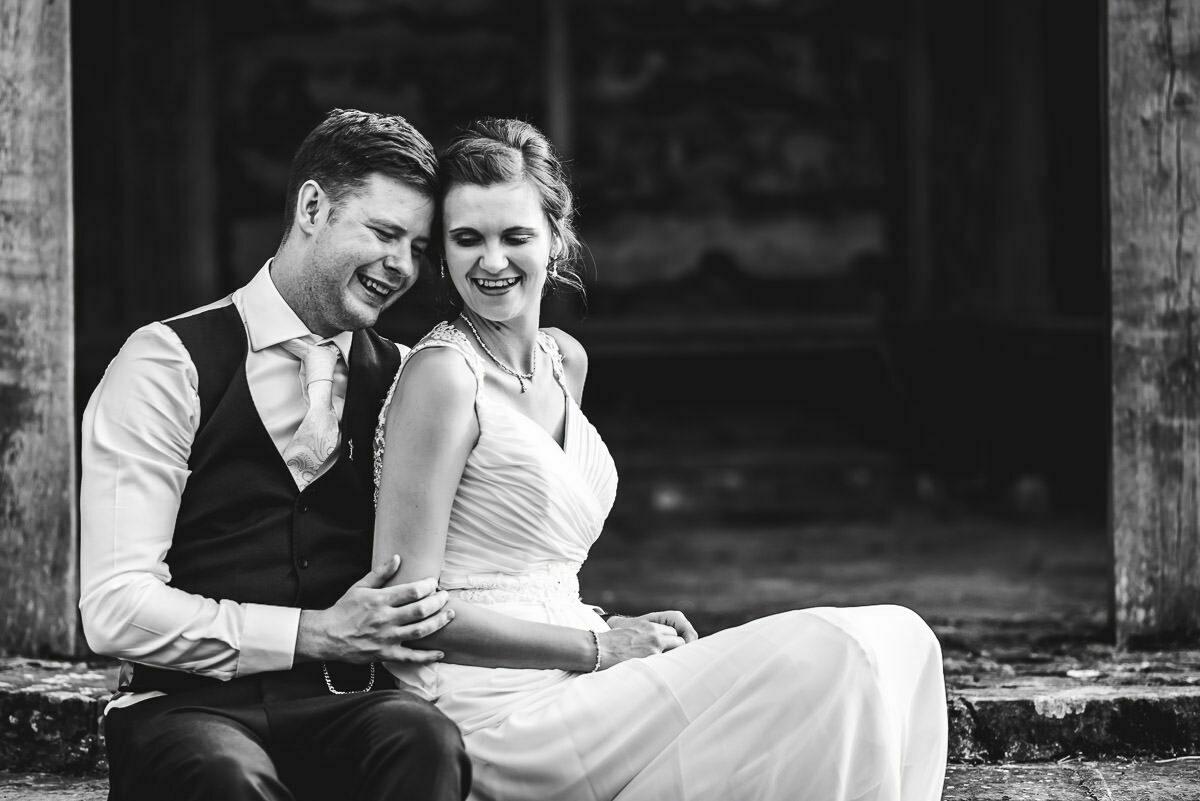 Newlyweds at Delbury Hall wedding, Shropshire