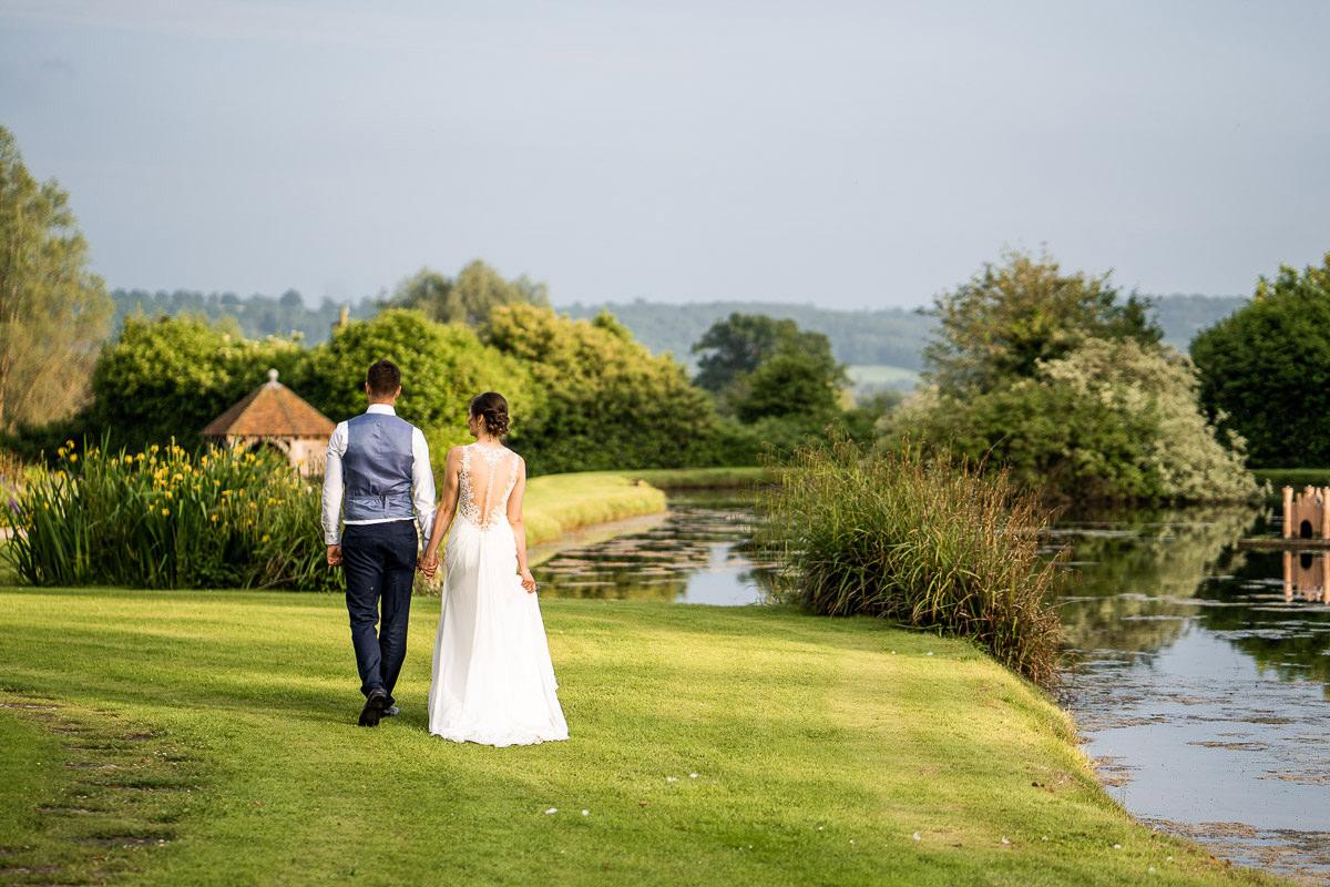 Bride and Groom at Delbury Hall Shropshire