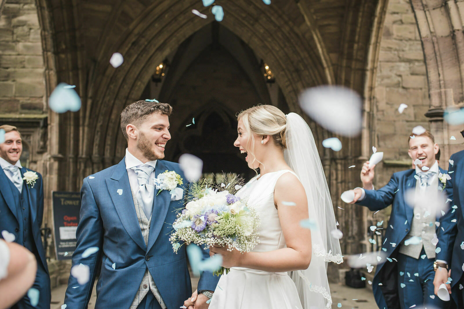 wedding confetti at Hereford cathedral