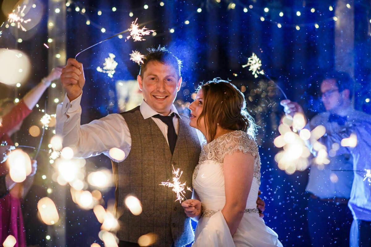 Sparklers at Brinsop Court wedding