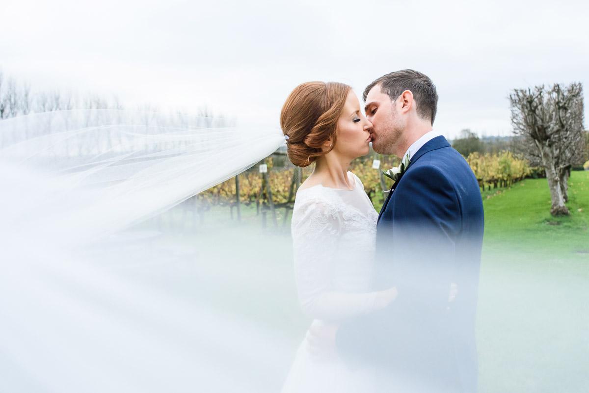 Llanerch vineyard bride and groom