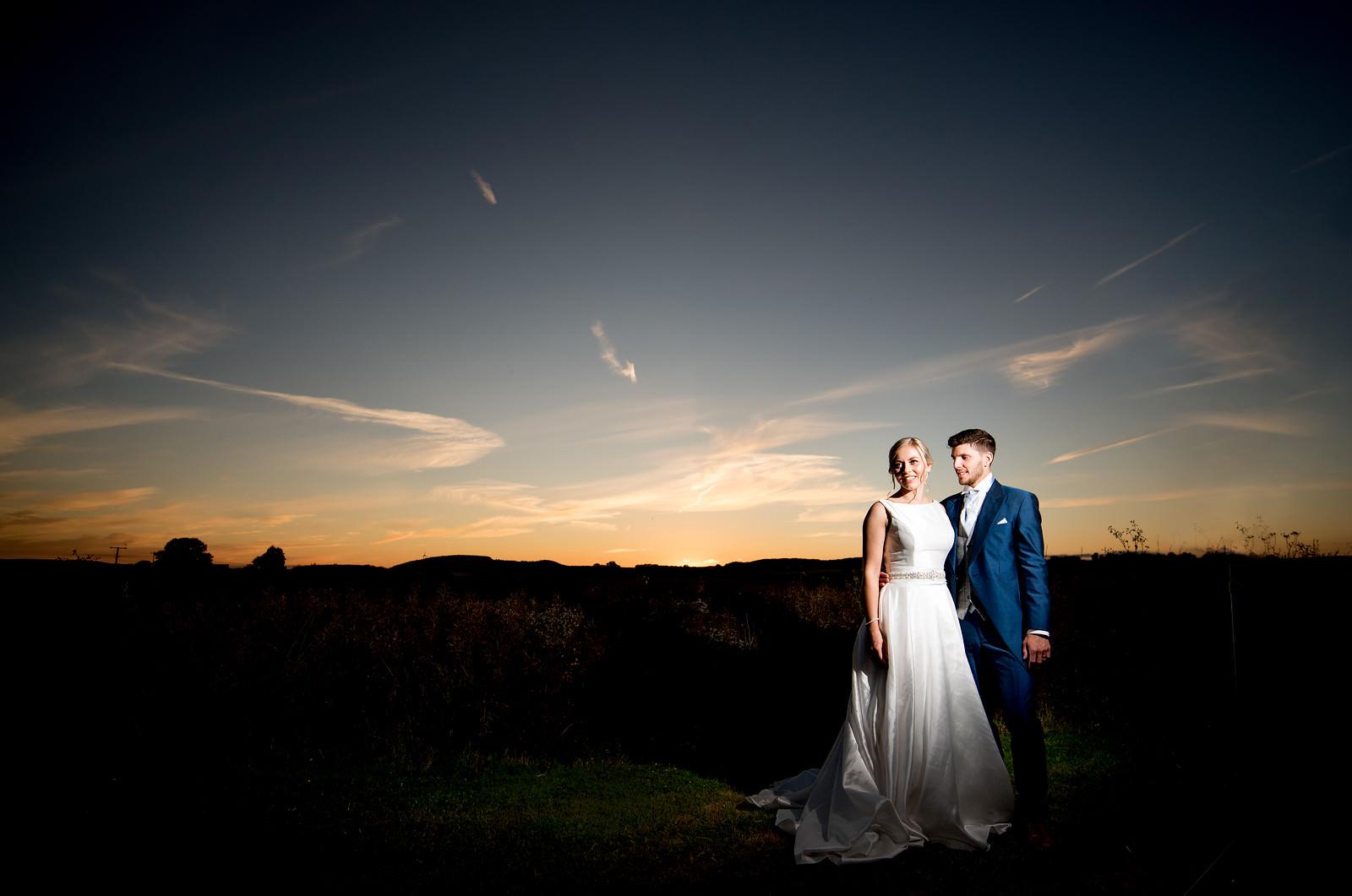 Sunset wedding photo