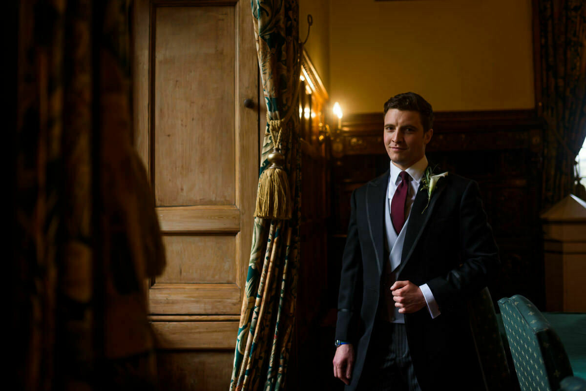Groom at Clearwell castle wedding