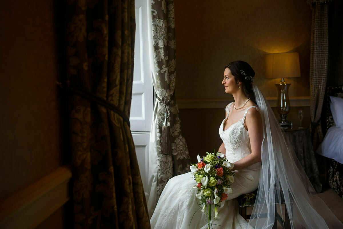 Bridal suite at Clearwell castle wedding venue