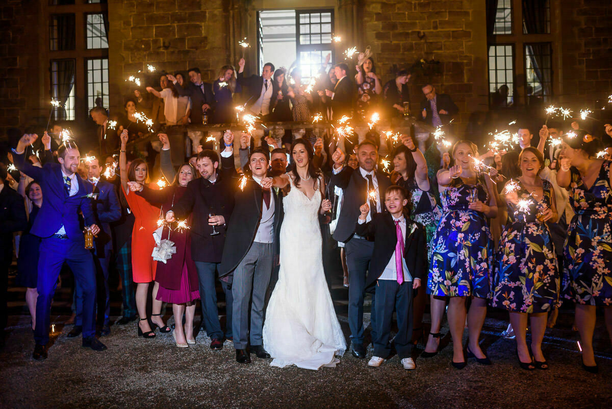 Sparklers at clearwell castle wedding
