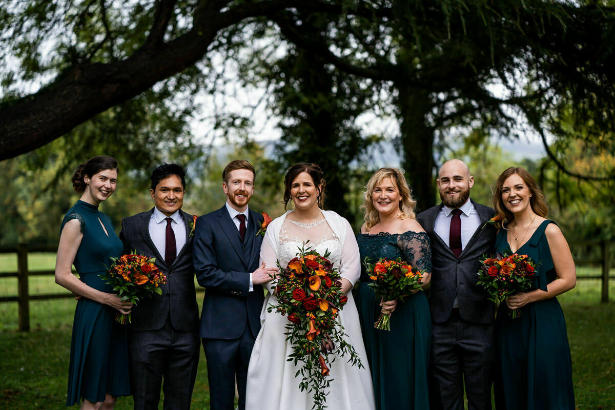 Bridal party at Gloucestershire wedding