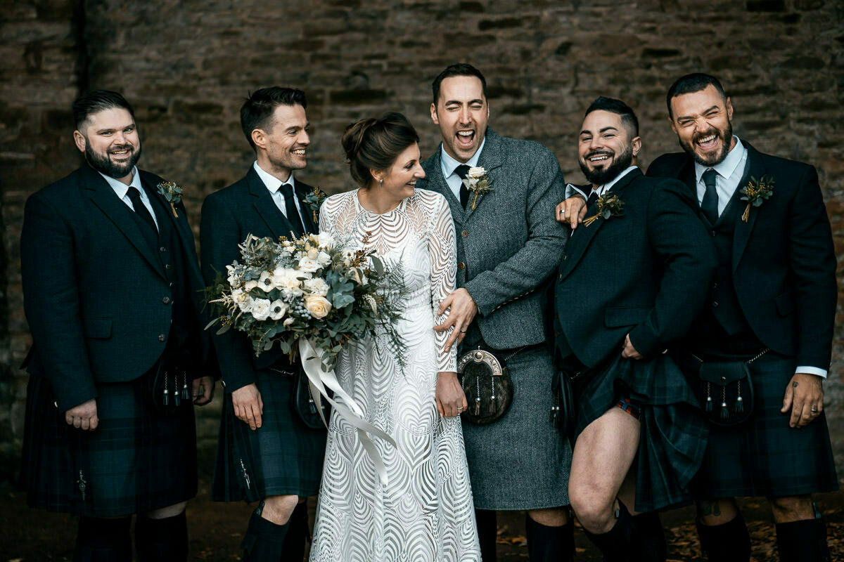 Bride and Groomsmen in kilts at dewsall court