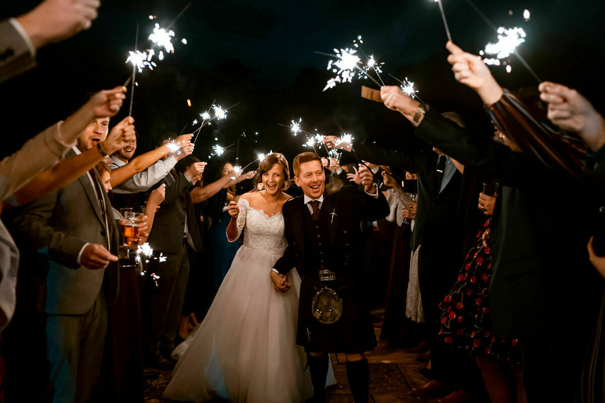 wedding sparklers, Brinsop Court Herefordshire
