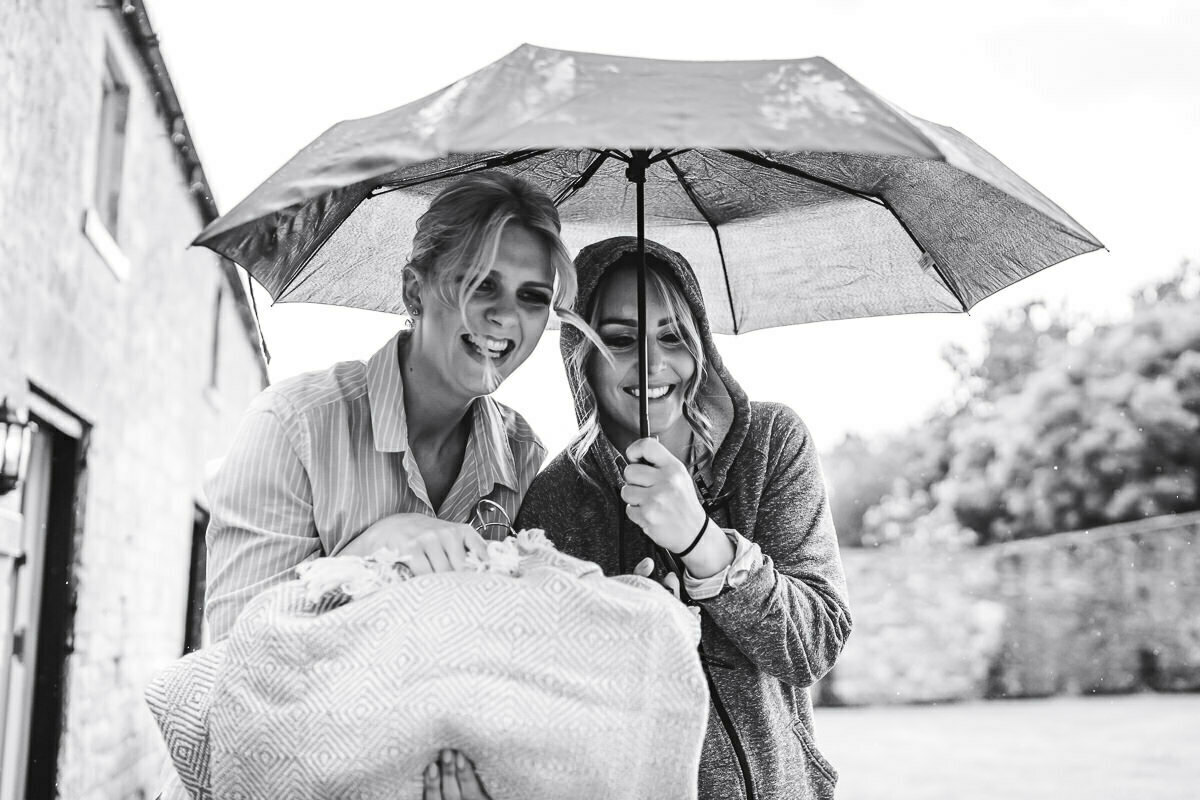 rainy wedding at Mickleton hills farm