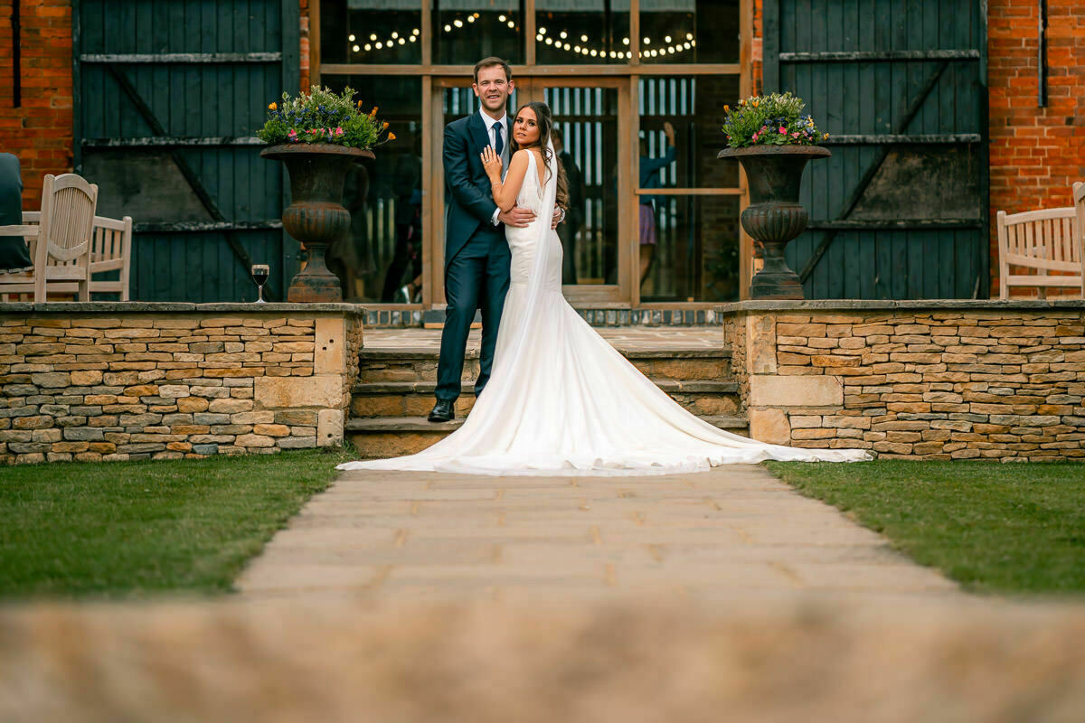 Bride and groom at Mickleton hills farm
