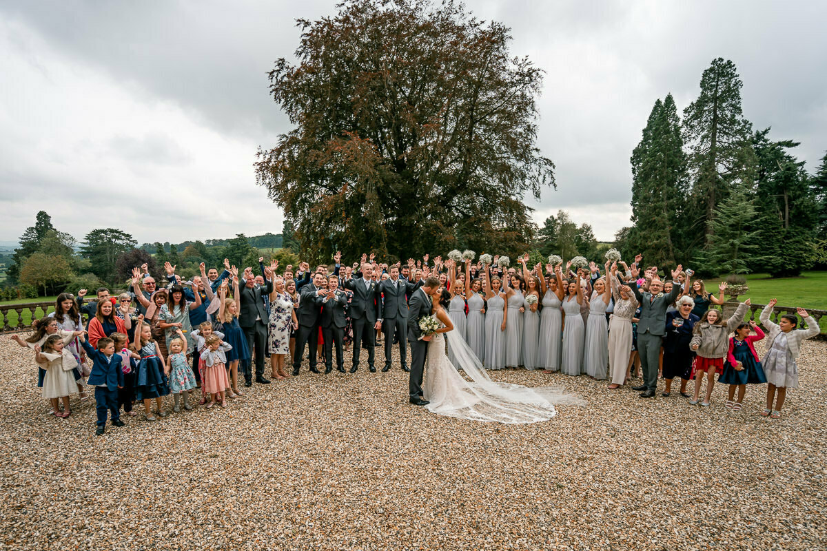 big group photo at wedding
