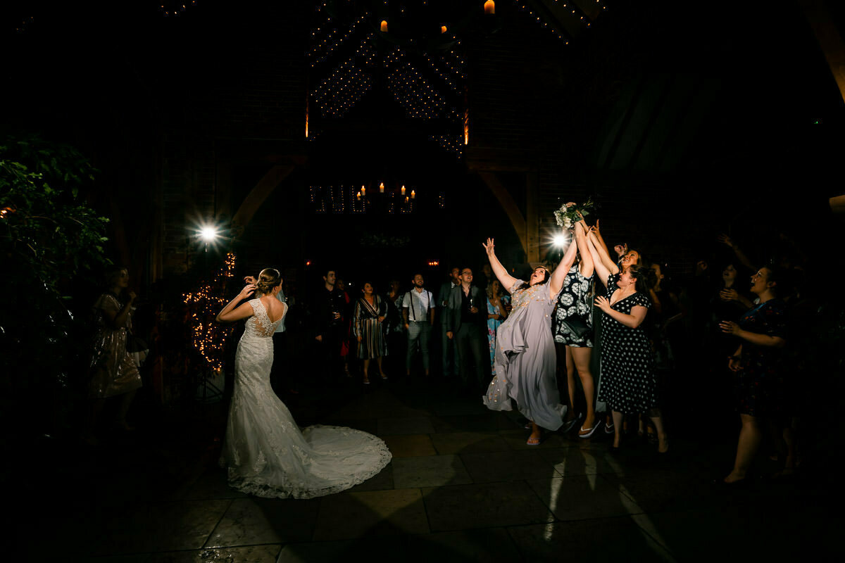 Shustoke barns wedding, bouquet toss