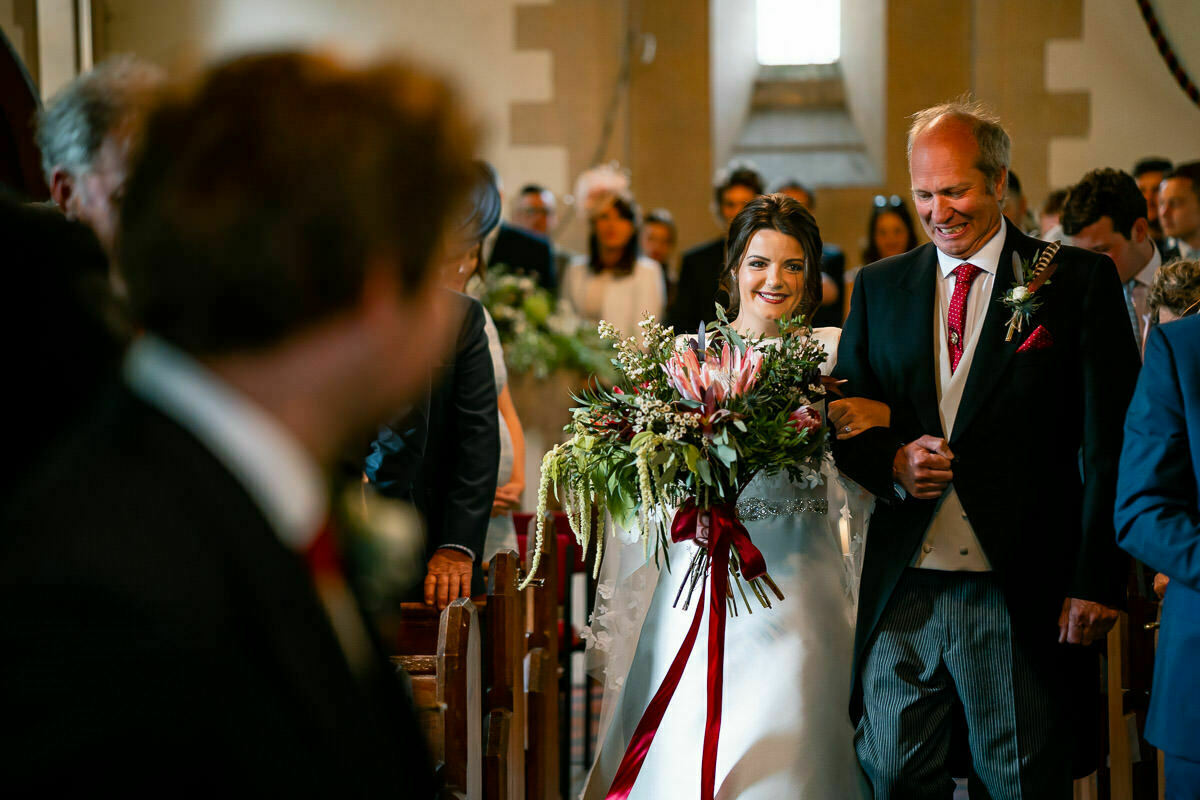 Bride in Worcestershire church wedding