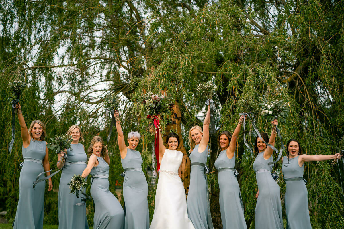 Bride and bridesmaids in Worcestershire