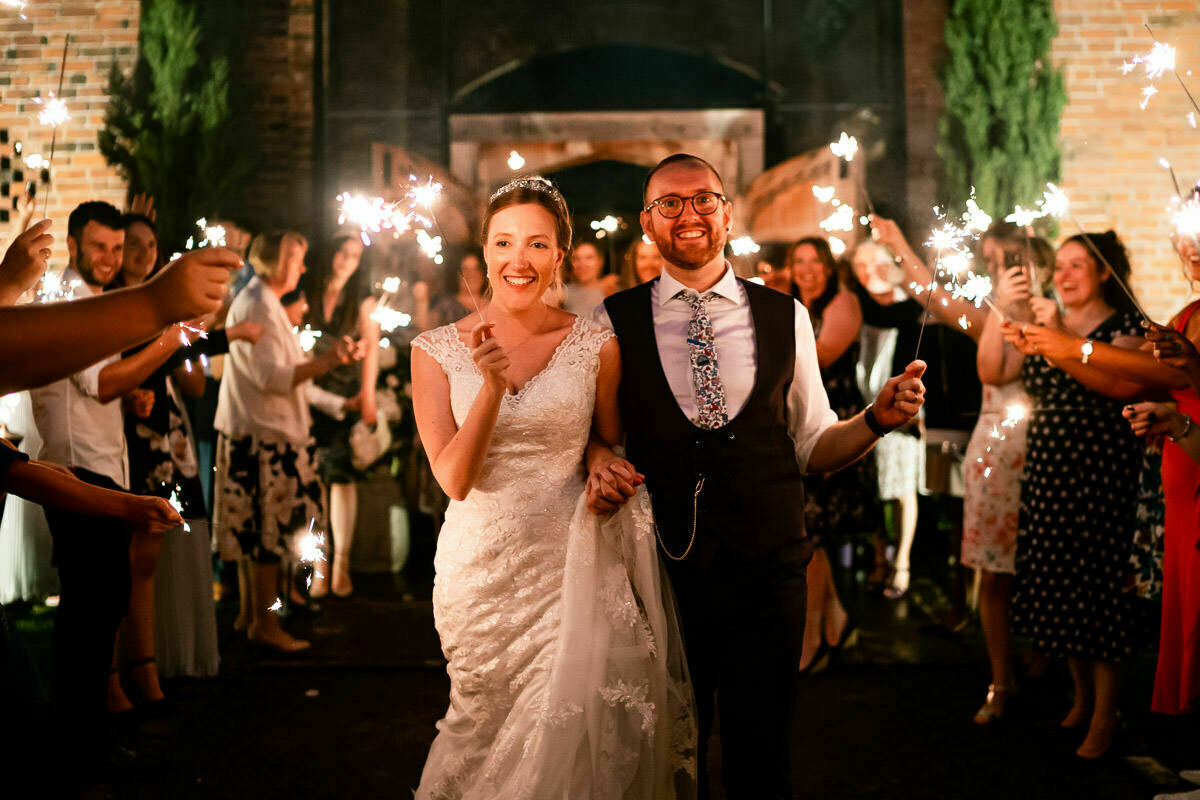wedding sparklers at shustoke barn