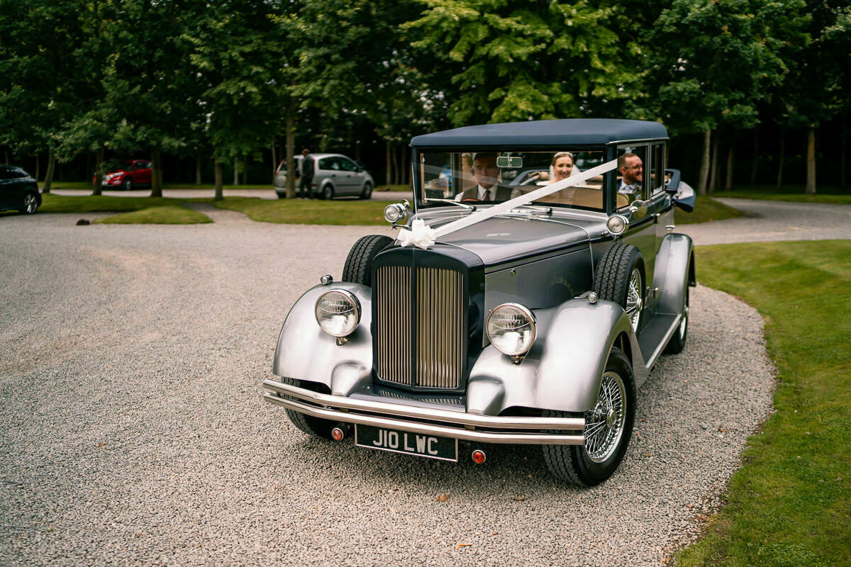 wedding car at shustoke barn