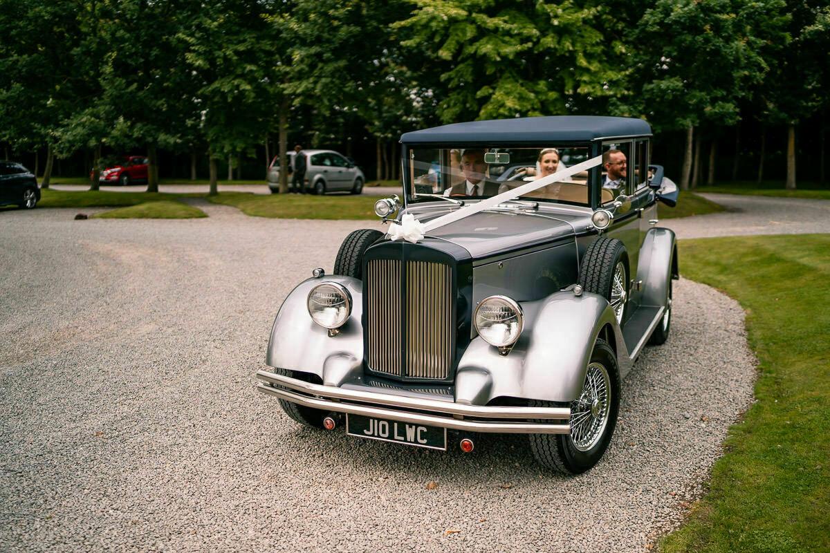wedding car at shustoke barn
