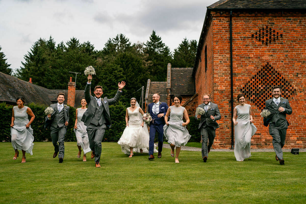 Bridal party photos at shustoke barn